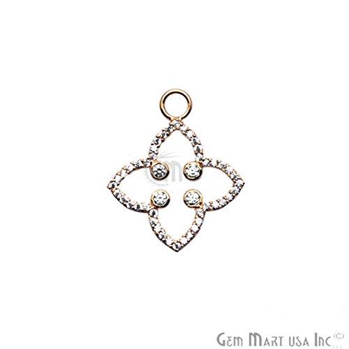CZ Pave Diamond 'Clover' Charms Pendant, 24x21mm Gold Vermeil Pave Diamond Chain Pendant 1PC (Gold Vermeil Clover)