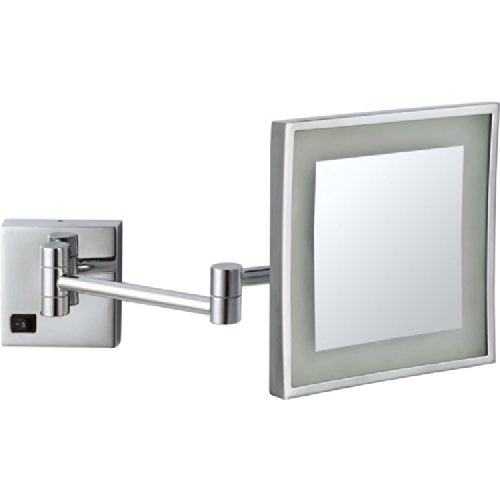 (Nameeks AR7701-CR-5x Glimmer Square Wall Mounted LED 5x Magnification Makeup Mirror,)