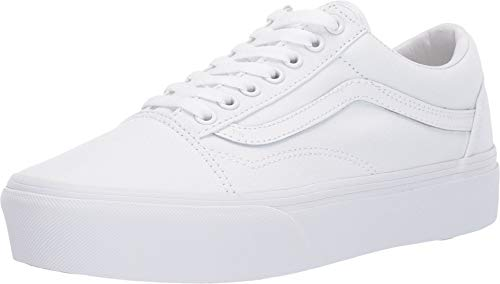 (Vans Unisex Old Skool Platform True White 7 Women / 5.5 Men M US)