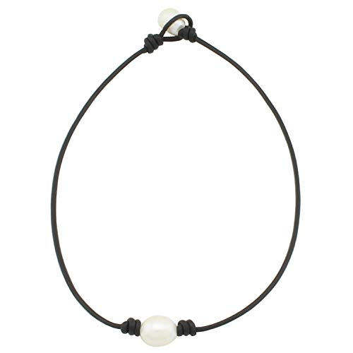Leather Pearl Necklace Rope Jewelry - Elegant Delicate Black One Genuine Real Statement White Pearl Beads Knotted Leather Collar Choker Necklace Anniversary Single Knotted Jewelry for Women 15 Inch ()