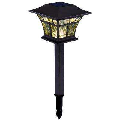 - Outdoor Solar Powered Landscape LED Mediterranean Bronze Mission Path Light (4-pack)
