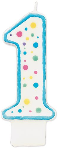 Wilton W91-01B Polka Dot Numeral Candle, 3-Inch by 1.5-Inch, No. 1 Blue, 1-Pack (Candle 1)