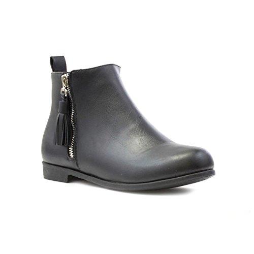 Lilley - Bota al tobillo, con detalle de borlas, negra, para mujer Lilley Negro