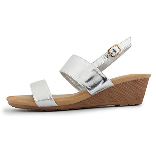 Alexis Leroy Women's Double Strapped Slingback Low Wedge Dress Sandals Silver 5-5.5 M US ()