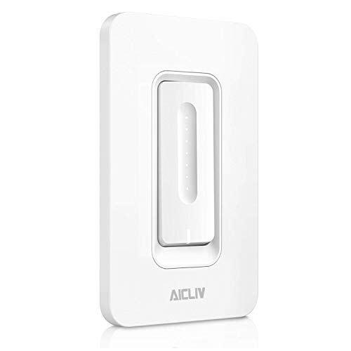 Smart Dimmer Switch, Aicliv Dimmable Wi-Fi Light Switch Compatible with Alexa and Google Home, Dim and Schedule Lighting from Anywhere, No Hub Required [Single-Pole Only, Neutral Wire Reuiqred]