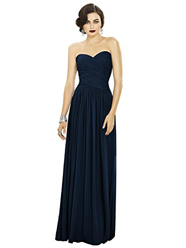 (Dessy Women's Full Length Strapless Lux Chiffon Dress w/Sweetheart Neckline by, Midnight Size 10)
