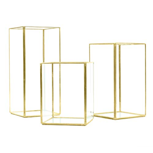 Koyal Wholesale Geometric Hurricane Candle Holder Set of 3 for Wedding Centerpiece, Table Decorations, Home Decor, Patio Decor ()