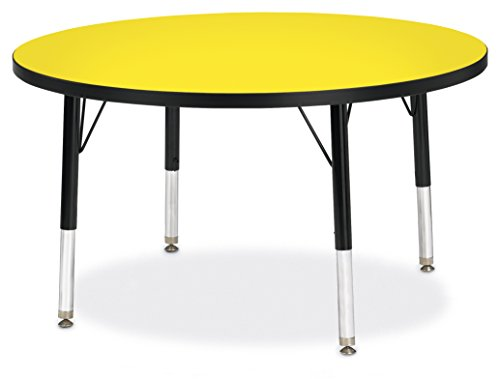 Berries 6488JCT187 Round Activity Table, T-Height, 36'' Diameter, Yellow/Black/Black by Berries