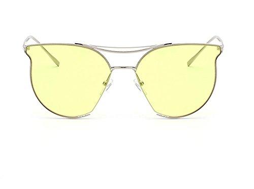 de la Capullos de la de HD Gafas CMCL de Ronda Marea Cara Cara Sol de Color Yellow Caminante Mujer Moda reparación w0RO4axq