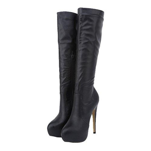 HooH Women's Knee High Boots Zipper Platform High Heel Thigh High Boots Black vqFuNSN