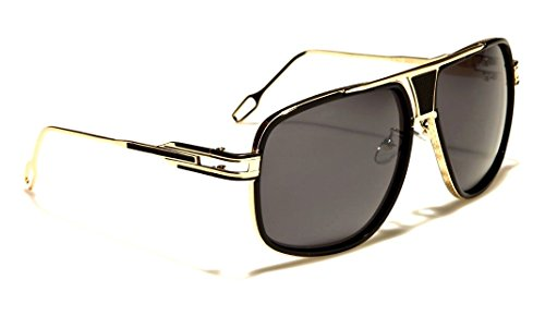 Gazelle Tycoon Aviator Sunglasses w/ Multicolor Lenses (Black & Gold, - Sunglasses Gazelle
