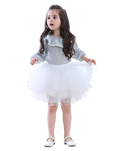 Girl's 6-Layered Tutu Skirt Ballet Fluffy Tulle Little Princess Dancing Petticoat Ballerina Skirt White M -