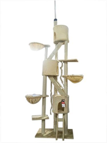 iPet Huge Cat Tree Condo Scratching Post Pet House Cat Furniture Cat Exercise Tree Scratch lounge Beige Color