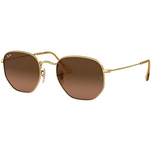 Ray Ban Hexagonal 54 - Ray-Ban RB3548N Hexagonal Sunglasses,54mm,Gold/Brown Gradient