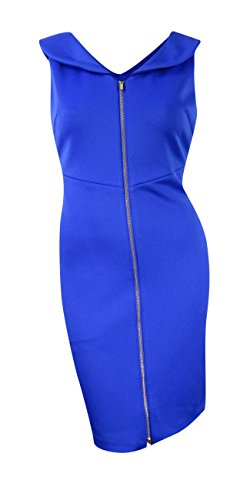 Shawl Collar Sheath (Calvin Klein Women's Shawl-Collar Scuba Knit Zip Sheath Dress (14, Atlantis))