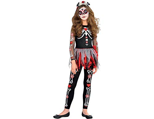 Day of the Dead Scared to the Bone Halloween Costume for Girls, Small, with Included Accessories, by Amscan -