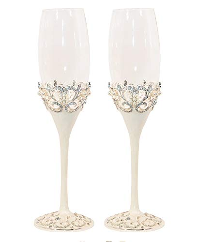 WEDDING CHAMPAGNE TOASTING FLUTES SET OF 2, CHAMPAGNE GLASSES FOR WEDDING, ENGAGEMENT, ANNIVERSARY AND SPECIAL OCCASION, WEDDING GIFT (Silver)