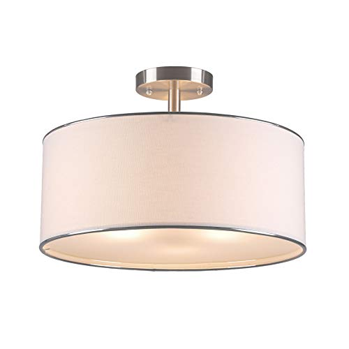 CO-Z Drum Light, Brushed Nickel 3 Light Drum Chandelier, Semi-Flush Mount Contemporary Ceiling Lighting Fixture with Diffused Shade for Kitchen, Hallway, Dining Room Table