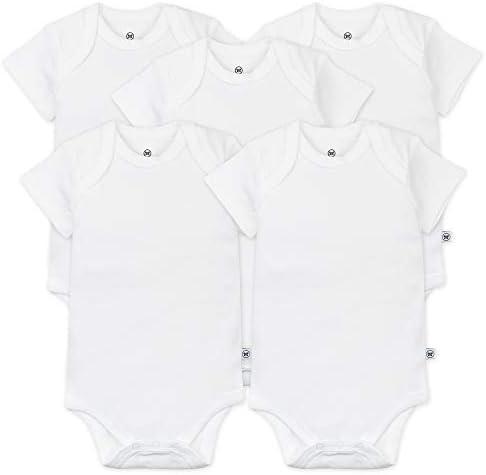 HonestBaby Boys and Girls 5-Pack Organic Cotton Short Sleeve Bodysuits