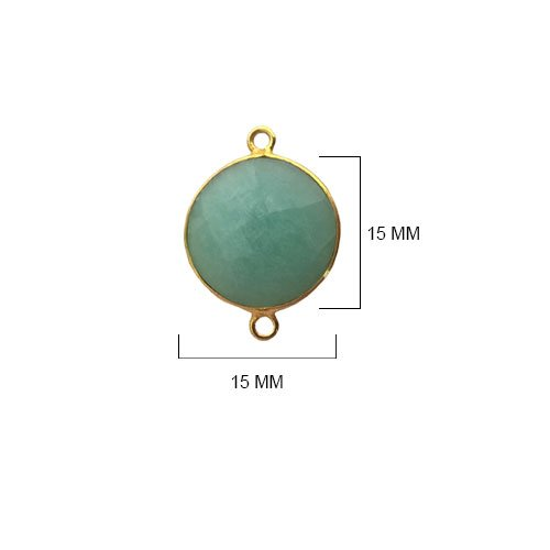 4 Pcs Amazonite Coin Beads 15mm 24K gold vermeil by BESTINBEADS, Amazonite Hydro Quartz Coin Pendant Bezel Gemstone Connectors over 925 sterling silver bezel jewelry making supplies ()
