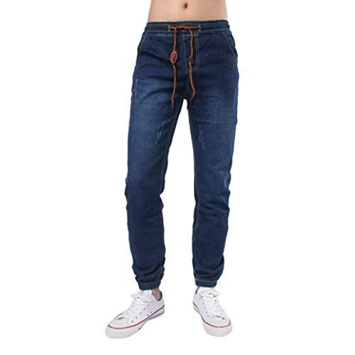 Uomo Pantaloni Casual Party E Con Vintage Moderna Jeans Elasticizzati Da Denim Comfy Polsini Tiefblau Stretti Cordino Haidean EnBq8ZHwB