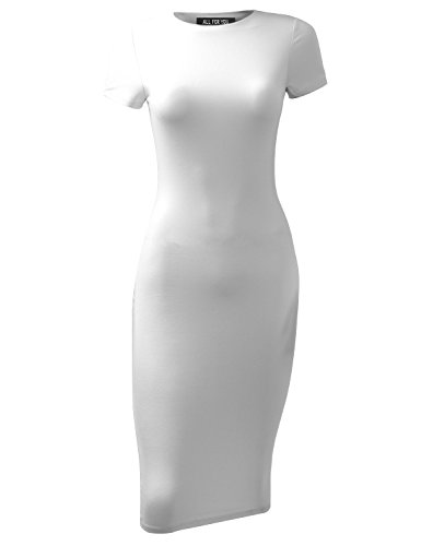 A.F.Y All For You Women's Slim Fit Sandwich Dress White XXX-Large