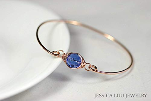 - Rose Gold Sapphire Bangle Bracelet with Swarovski Crystal Wire Wrapped Rose or Yellow Gold Filled Bracelet