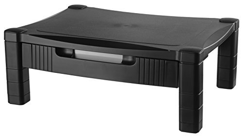 Kantek Height-Adjustable Monitor/Laptop Stand with Drawer, 17 X 13 X 3 to 6-1/2 Inches, Black (MS420) ()