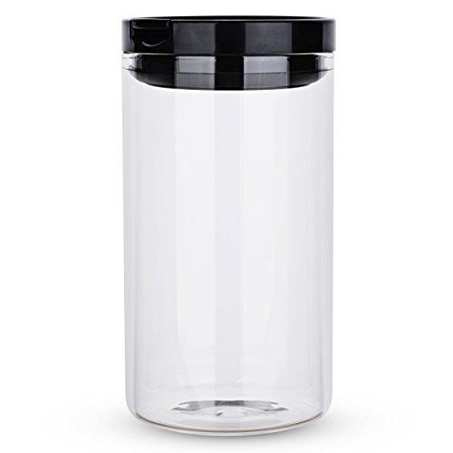 Karafu 34 Ounces Borosilicate Glass Airtight Food Storage Container, Airtight Storage Jar for Dry Food, Sugar, Tea, Coffee, Cookies, Snacks, Liquid or More (Black) -