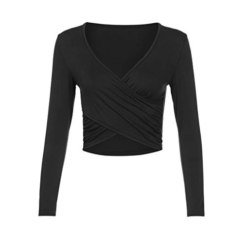Sunhusing Ladies Cross Strappy Lace-Up Slim Long Sleeve T-Shirt Deep V-Neck Sexy Top Tee Black