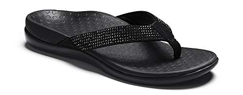 Vionic Women's Tide Rhinestones Toe-Post Sandal - Ladies Flip-Flop with Concealed Orthotic Arch Support Black Black 9 M US