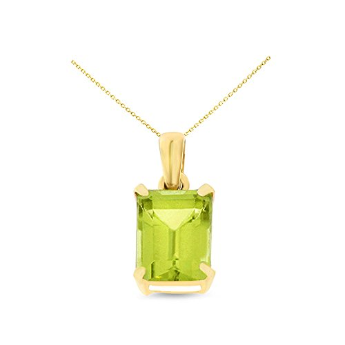 14K Yellow Gold 6 x 8 mm. Emerald Cut Genuine Natural Peridot Pendant With Square Rolo Chain ()