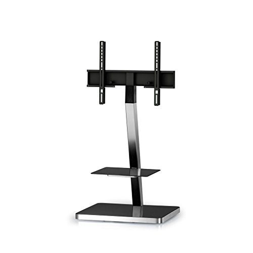 SONOROUS PL-2710 Modern TV Floor Stand Mount/Bracket with Tempered Glass Shelf for Sizes up to 65