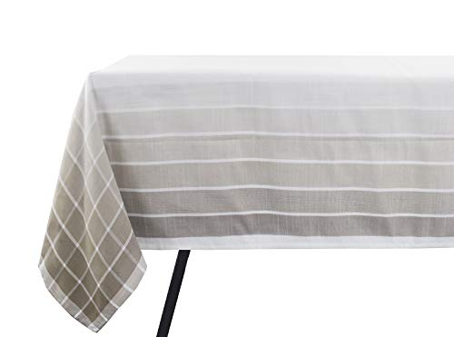 Fennco Styles Café Roma Striped Design Ombré Ivory 72 x 72 Inch Tablecloth for Home Décor, Dining Room, Parties, Machine Washable ()