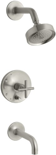 KOHLER K-T14421-3-BN Purist Rite-Temp Pressure-Balancing Bath and Shower Faucet Trim, Vibrant Brushed Nickel