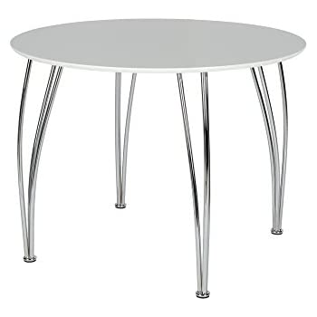 novogratz bentwood round dining table with chrome plated legs white
