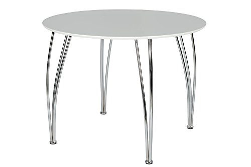 Novogratz Round Dining Table with Chrome Plated Legs, White (Round Dining Large Set)