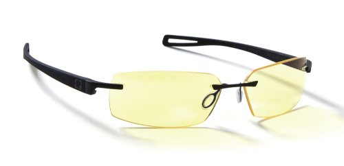 Onyx Finish Frame (Gunnar Optiks R6638-C001Z Edge Rimless Advanced Computer Glasses with Squared Off Lenses and Amber Tint, Onyx Frame Finish)