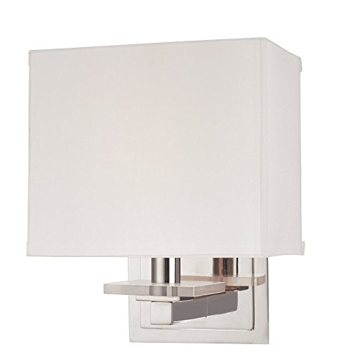 Montauk 1-Light Wall Sconce - Polished Nickel Finish with Off White Faux Silk Shade (Hudson Valley Square Sconce)