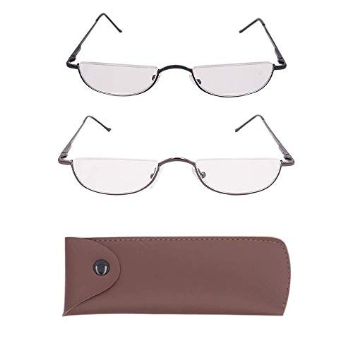(Half Frame Reading Glasses Set of 2 Pairs Half Rim Metal Frame Glasses Spring Hinge Readers with Leather Pouch for Men and Women, 3.50 Strength)