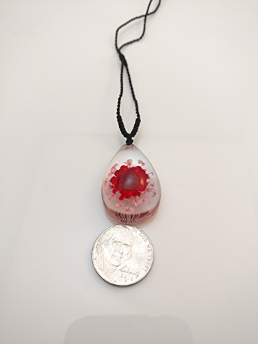 Red and Pink Flower in Clear Lucite Necklace