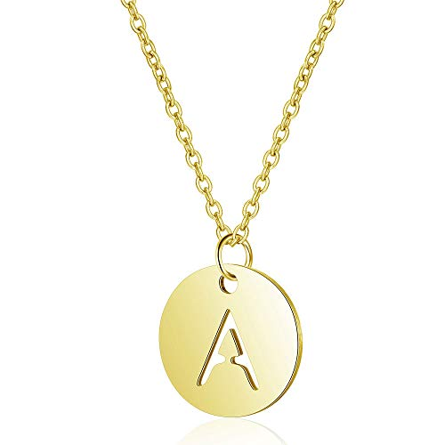 Kalapure 14K Yellow Gold Plated Round Disc Initial Necklace for Women Girls Stainless Steel Alphabet Letter Pendant Personalized Name Necklace