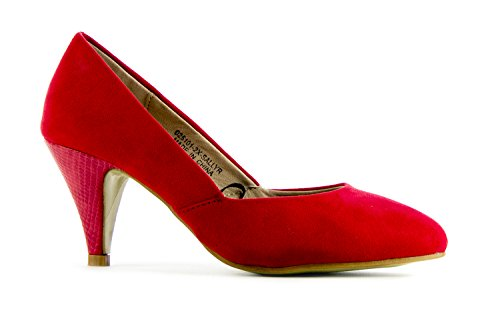 WOMENS LADIES LOW MID HIGH KITTEN HEEL PUMPS POINTED TOE WORK COURT SHOES SIZE Red Faux Suede Z8eyjLbM