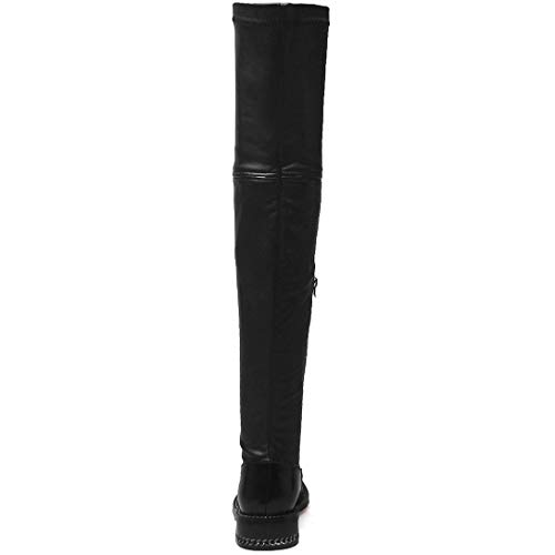 Knee Zippers Black Womens ELEHOT Round The Block Above Heel Elering Leather Toe Boots wvYnxYq7UC