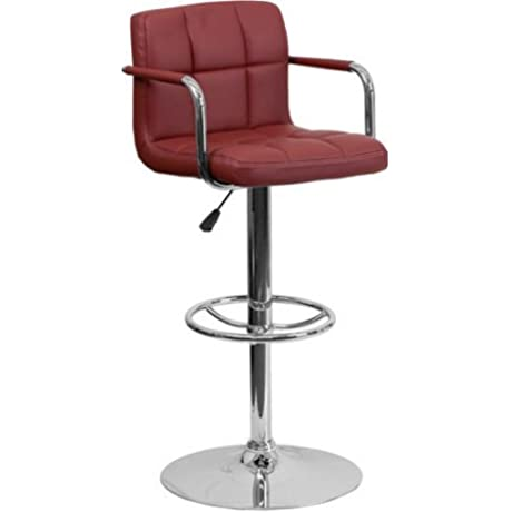 11 25 Height Adjustable Vinyl Upholstery Pair Of Bar Stools With Armrests Foot Rest Standard To Bar Height Multiple Colors Set Of 2 Gas Lift Bar Furniture BONUS E Book Burgundy