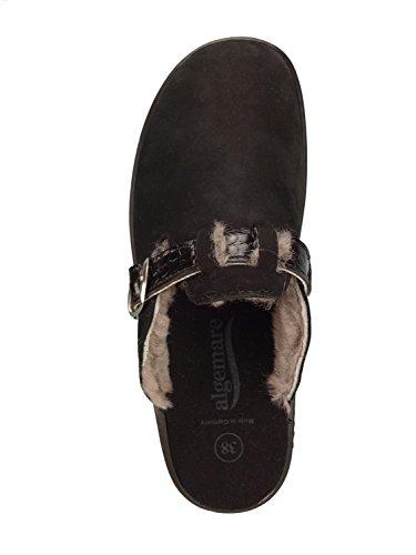 mit Clog Damen pur Pantolette Wechselfußbett Lammfell 004 aus Algemare Hausschuh 5972 Größe und 36 waschbarem Nubuk Sandalette Sani 0Bdnxgxw