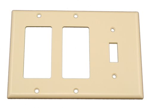 Leviton 80431-T 3-Gang 1-Toggle 2-Decora/GFCI Device Combination Wallplate, Standard Size, Thermoset, Device Mount, Light Almond - 1 Gang Almond