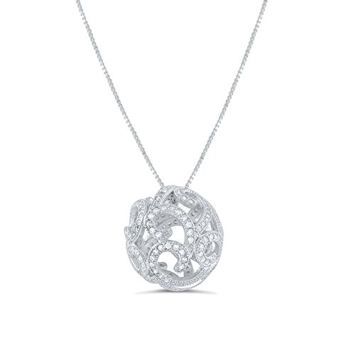 Sterling Silver Cz Filigree Ball Necklace ()