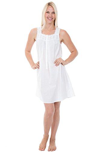 Alexander Del Rossa Womens 100% Cotton Lawn Nightgown, Sleeveless Button Up Sleep Dress