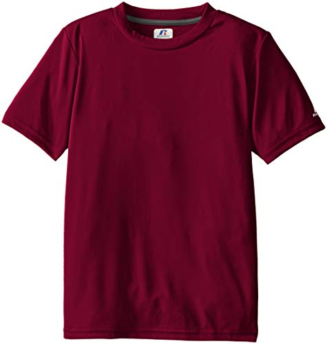Russell Athletic Boys' Youth Short Sleeve Performance Tee, Maroon, Large